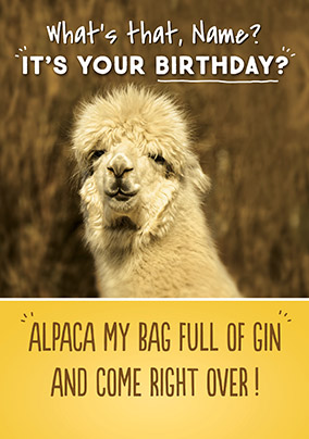 alpaca my bags birthday card