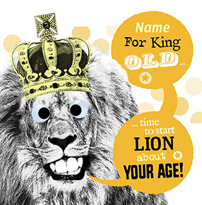Lion About Your Age Personalised Birthday Card - Punny Farm