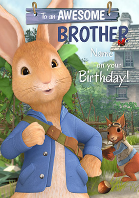 Peter Rabbit Awesome Brother Personalised Card