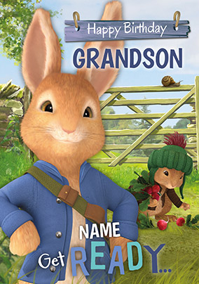 Peter Rabbit Grandson Personalised Birthday Card