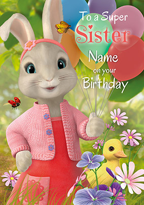 Peter Rabbit Sister Personalised Birthday Card