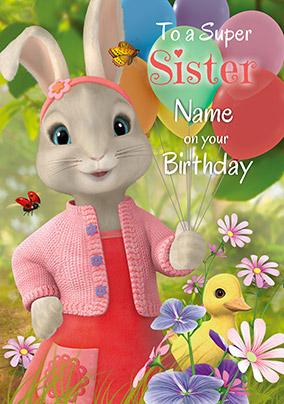 Peter Rabbit Sister Personalised Birthday Card