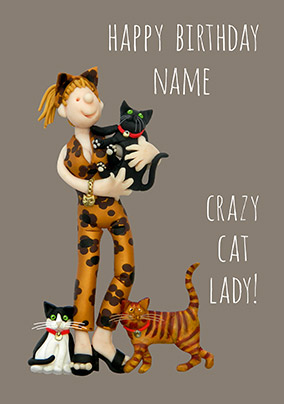 Crazy Cat Lady Personalised Card
