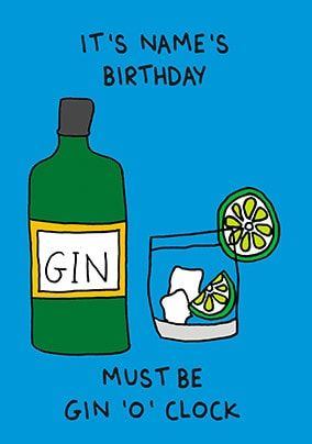 Gin 'O Clock Personalised Card