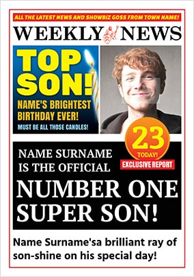 Spoof Newspaper Top Son Personalised Birthday Card NO Preview Image Is Not Found