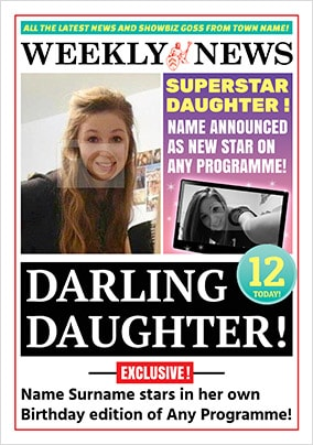 Spoof Newspaper Daughter Personalised Birthday Card NO Preview Image Is Not Found