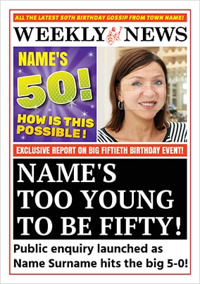 Spoof Newspaper 50th Birthday Personalised Card NO Preview Image Is Not Found