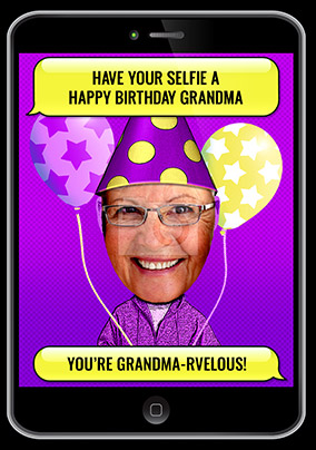 Grandma Selfie Photo Birthday Card