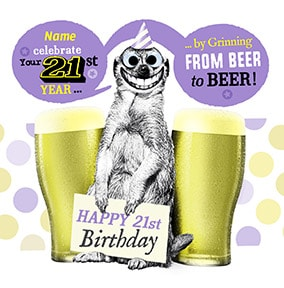 21 - Grinning From Beer To Beer Personalised Card