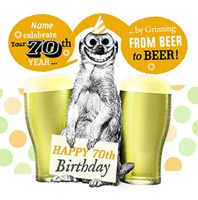 70 - Grinning From Beer To Beer Personalised Card