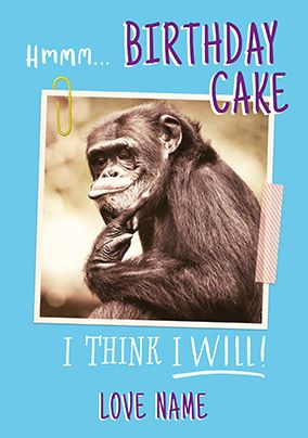 Hmmm Birthday Cake Personalised Card