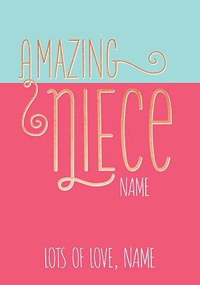 Amazing Niece Personalised Birthday Card