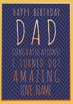 Dad Congratulations Personalised Birthday Card