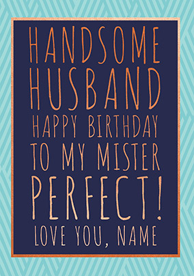 Handsome Husband Personalised Birthday Card