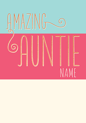 Amazing Auntie Personalised Card