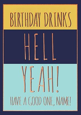 Birthday Drinks Personalised Card