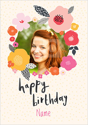 Floral Birthday Photo Upload Card