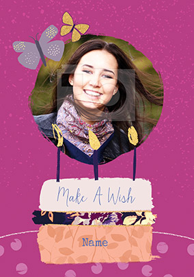 Make a Wish Photo Upload Birthday Card
