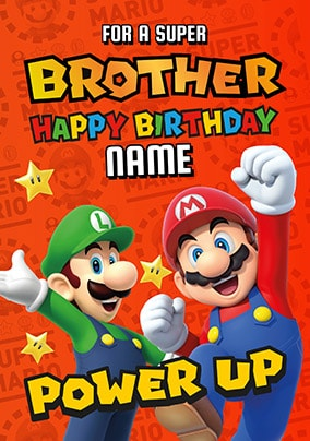 Super Brother Mario Personalised Birthday Card NO Preview Image Is Not Found