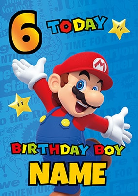 Mario 6 Today Personalised Birthday Card