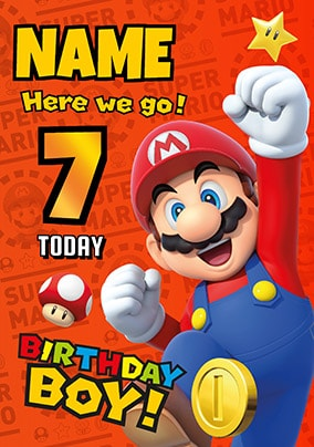 Mario 7 Today Personalised Birthday Card