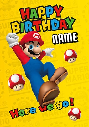 Happy Birthday Mario Personalised Card