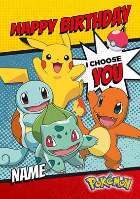 I Choose You Pokemon Personalised Birthday Card