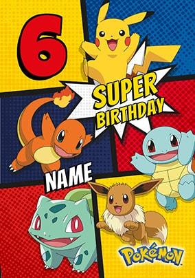 Pokemon 6th Birthday Personalised Card