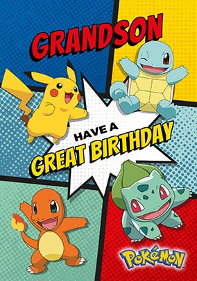 Grandson Personalised Pokemon Birthday Card