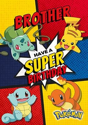 Brother Personalised Pokemon Birthday Card