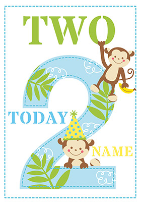 Cheeky Monkeys 2nd Birthday Card