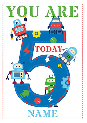 Five Robots 5th Birthday Card