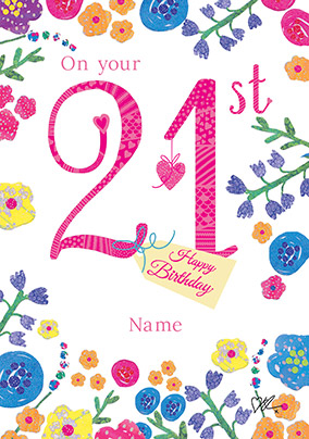 Bright Floral Milestone 21st Birthday Card