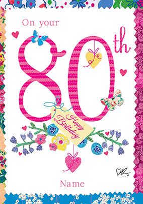 Bluebells Milestone 80th Birthday Card