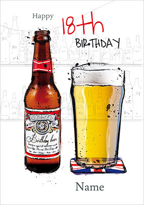 Grunge Beer 18th Birthday Card