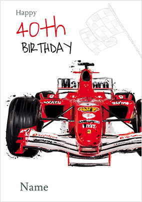 Formula 1 Car 40th Birthday Card