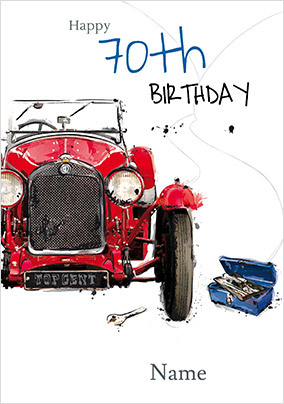 Vintage Car 70th Birthday Card NO Preview Image Is Not Found