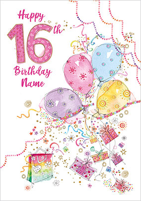 16th Birthday Balloons Personalised Card