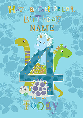 4th Birthday Dinosaur Cards