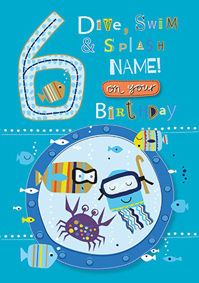 6th Birthday Swim & Splash Personalised Card