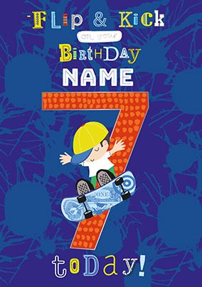 7th Birthday Skateboarding Personalised Card