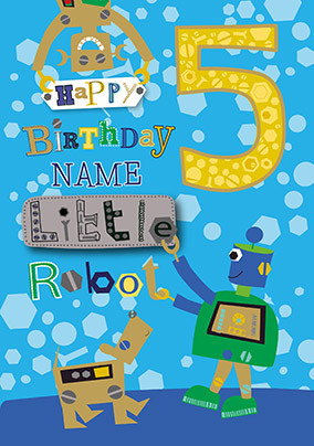 5th Birthday Little Robot Personalised Card