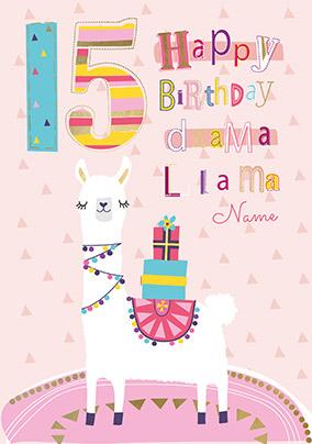15th Birthday Llama Personalised Card
