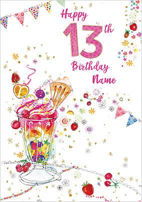 13th Birthday Ice Cream Sundae Card
