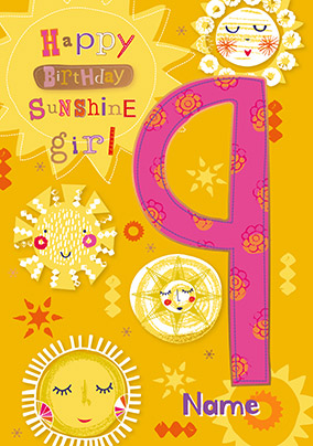 9th Birthday Sunshine Girl Personalised Card