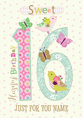 Sweet 16th Birthday Personalised Card NO Preview Image Is Not Found