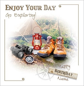Go Exploring! Personalised Birthday Card