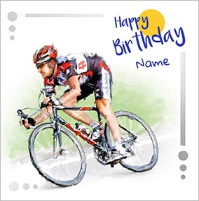 Cyclist Personalised Birthday Card