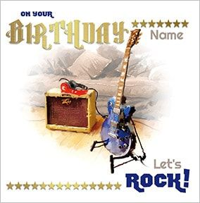Guitar & Amp Personalised Birthday Card