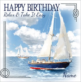 Sail Boat Persoanlised Birthday Card NO Preview Image Is Not Found